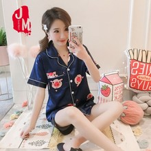 2020 Summer Pyjamas Short Sleeve Silk Pajamas Set Two Pieces Set Women Nighties