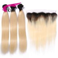 КРН 1B/613 Цвет бразильский Волосы Remy комплект из 3 предметов Связки с 13*4 уха до уха Синтетический Frontal шнурка волос Синтетическое закрытие вол