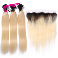KRN 1B/613 Color Brazilian Remy Hair 3 Pieces Bundles With 13*4 Ear To Ear Lace Frontal Closure Straight Human Hair Extensions