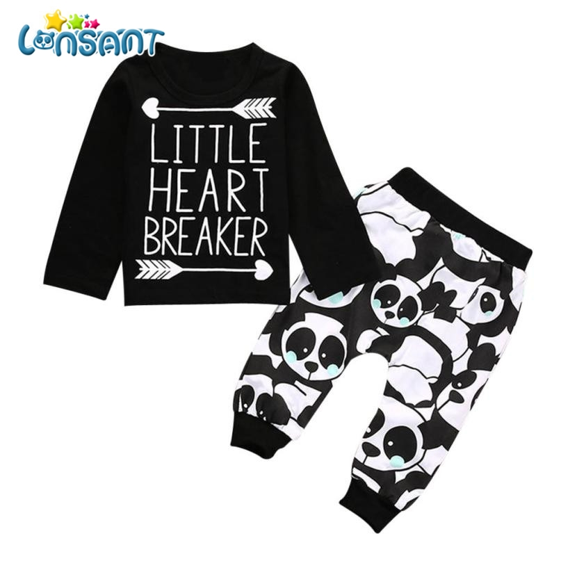 LONSANT 2018 Cute Baby Boy Clothes Set Long Sleeve Letter Blouse Tops + Pants Outfits Clothes Set Conjunto Menino Dropshipping