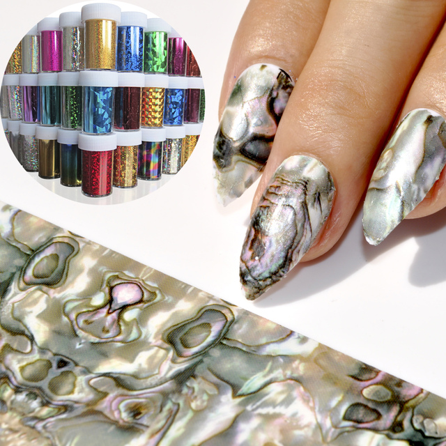 Classic Nail Foil Green Cat Eyes Blue Red Glue Transfer Nail Art Foil Sticker Star Nail Decoration Glass Broken 1 meter