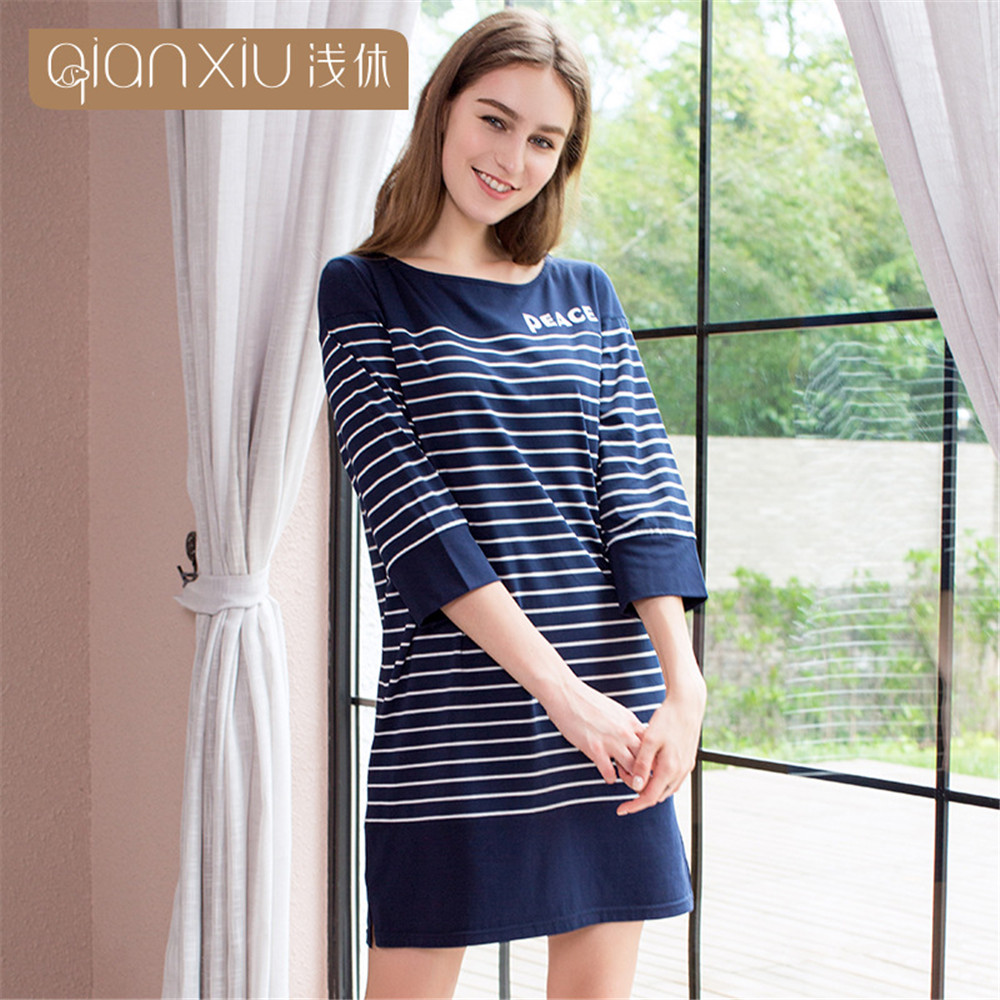 Qianxiu 2019 spring Cotton Women's   nightgowns   3/4 Sleeve sleepwear female sexy lingerie   nightgowns   &   sleepshirts   night dress