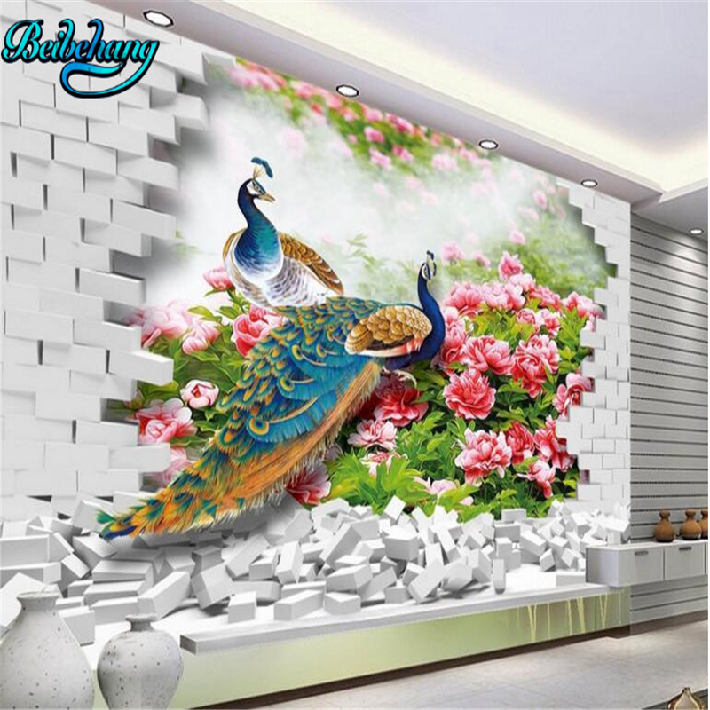 beibehang Large Custom Wallpaper Mural Decorative Peacock 3D Creative Living Room Background Wall
