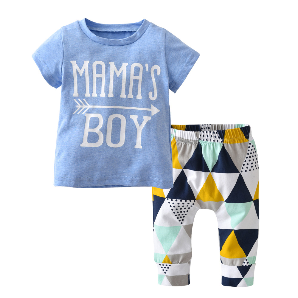eea38b14b0c 2018 Hot Selling Summer Newborn Baby Boy Clothes Cotton Short Sleeve Letter MAMA S  T-shirt+Geometric Pant Infant Clothing Set