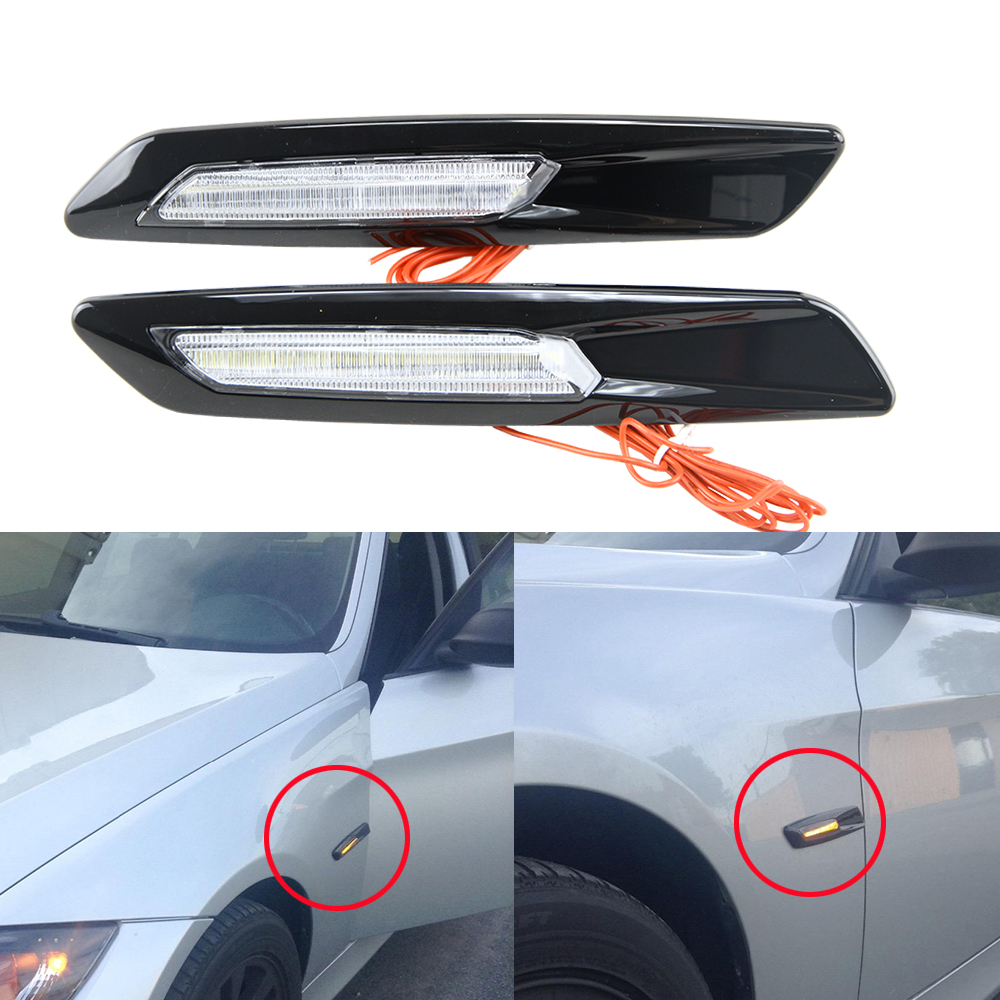 Gloss Black Type+smoked Lens F10 Style LED Fender Side Marker Turn Signal Light for BMW 1 3 Series E90 E91 E92 E93 E81 E82 E87 free shipping 2x led turn signal side light auto parts led side marker car accessories with m logo for bmw e46 02 05 4d 5d