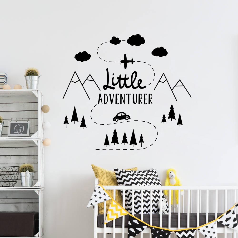 Us 4 98 25 Off Little Adventure Wall Decal Woodland Mountain Decor Nursery Travel Boys Rooms Home Decoration Vinyl B165 In