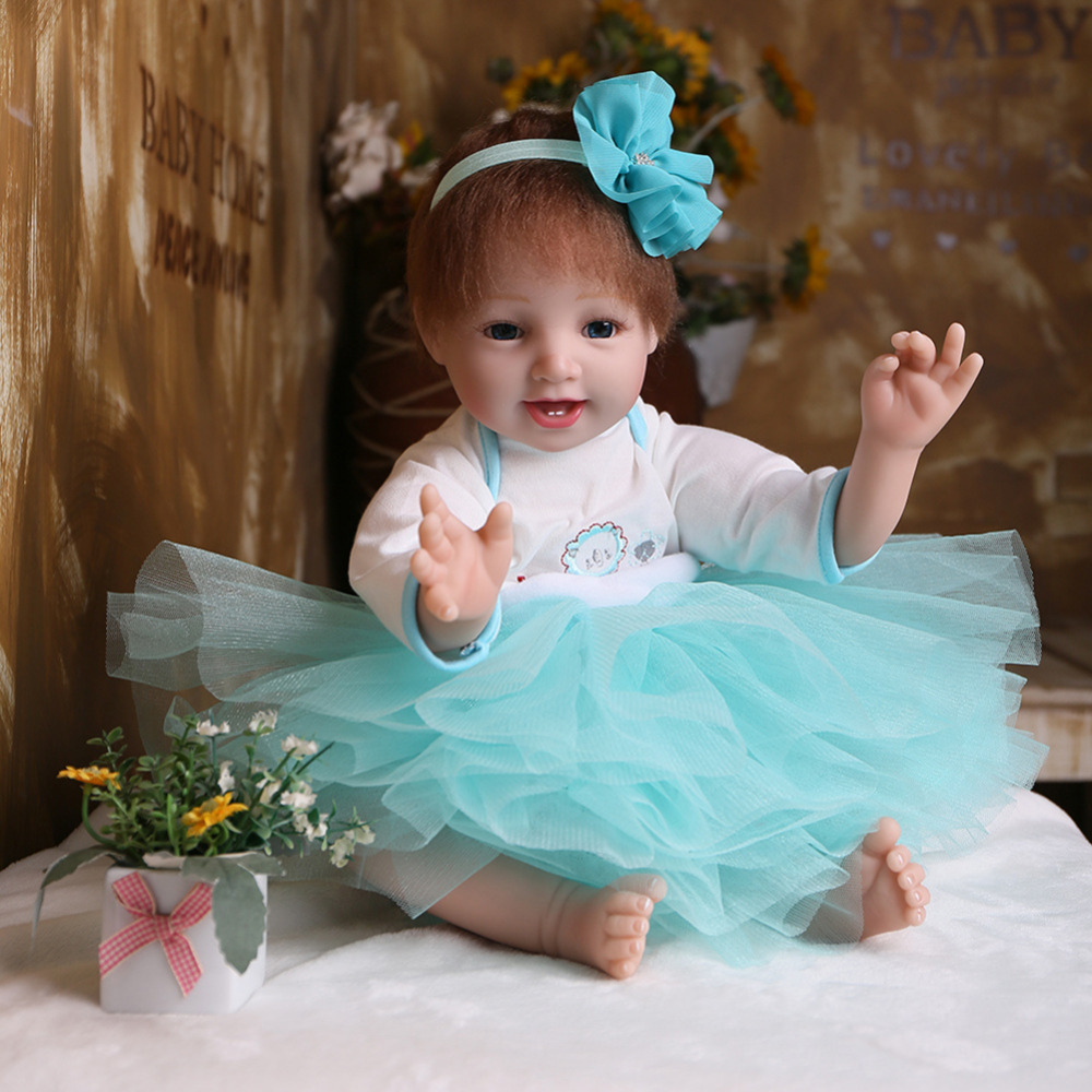 Baby Simulation silicone reborn dolls lifelike Wearing princess Dress reborn doll children birthday Gift toys for girls short curl hair lifelike reborn toddler dolls with 20inch baby doll clothes hot welcome lifelike baby dolls for children as gift