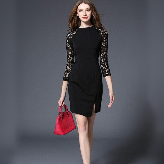 546d06f251 Verano encaje ahueca hacia fuera mujeres Trabajo Oficina Vestido elegante negro  Bodycon ajustado femenino lápiz vestidos