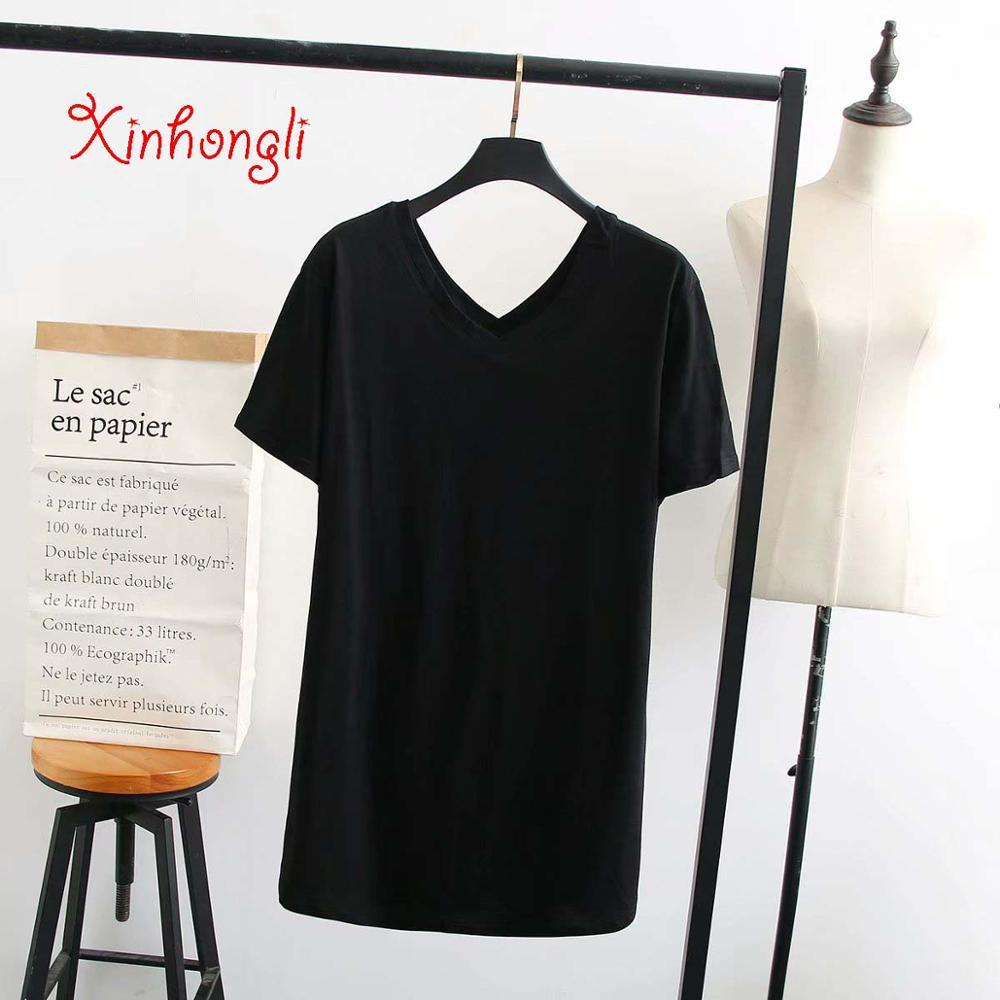 V-Neck solid color cotton women tshirts 2019 summer tee shirts femme short sleeve ladies t-shirts oversized t shirts Plus size