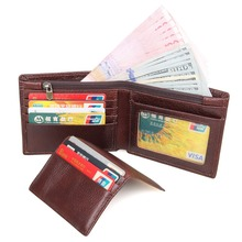 Tanned Leather Wallet Card Case For Men Billfold Credit Holder Purse R-8142-3C