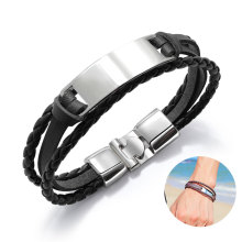 Simple Men Weaving Bracelet Metal Alloy Leather Multilayer Charm Bracelet Rope Chain Fashion Punk Rock Jewelry Bracelets for Men alloy metal star charm chain bracelet