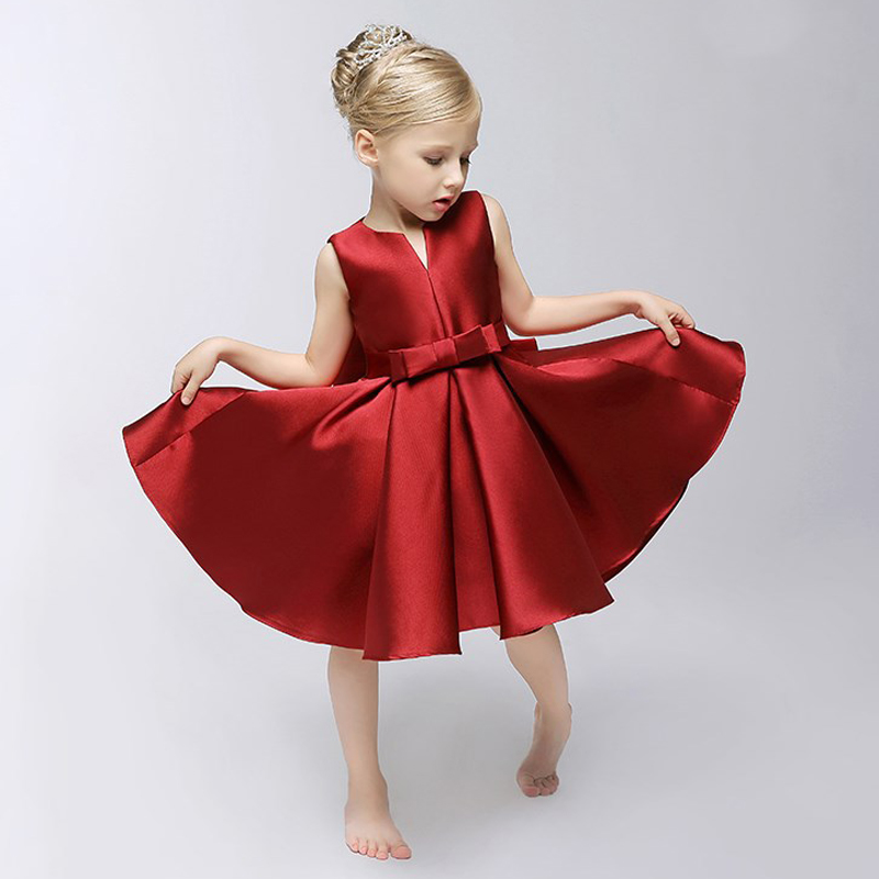 U-SWEAR 2019 New Arrival Red Kid   Flower     Girl     Dresses   Scoop Neck Sleeveless Bow Pleat Gils Communion   Dresses   Pageant   Dresses