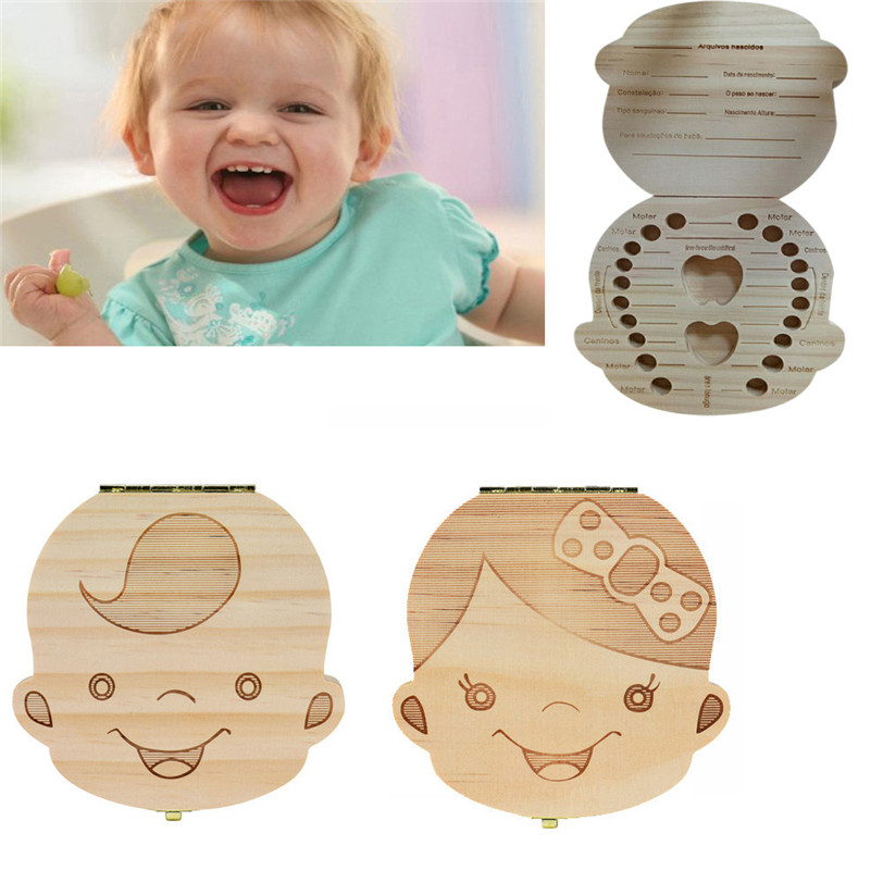 Portuguese/English/Russian Wood Tooth Box Organizer Save Milk Teeth Wood Storage Collecting Teeth Gifts Umbilical Cord Lanugo