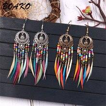 BOAKO Vintage Boho Ethnic Long Feather Earrings Bohemian Colorful Beads Dangle Drop for Women Statemetn Tassel