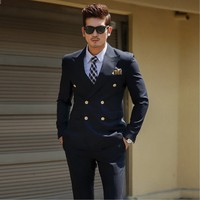 Groomsmen Groom Custom Made Tuxedos Navy Blue Men Suits Peak Lapel Best Man 2 pieces Wedding ( Jacket+Pants+Tie ) C554