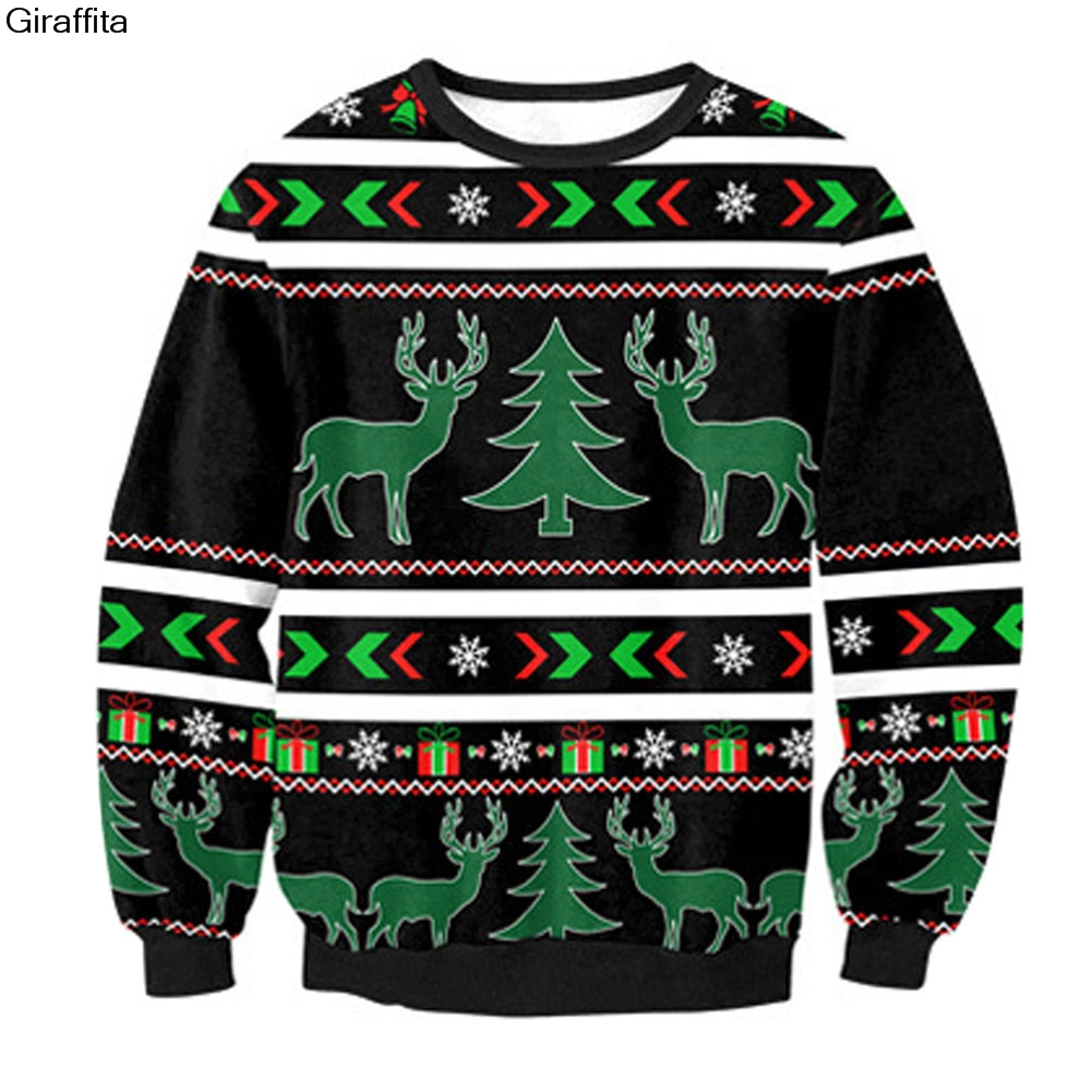 New Funny Christmas Elk Snowflake Print 3d Sweatshirts Womens Mens Pullovers Uniex Hoodies Crewneck Long Sleeve Hooded Clothing