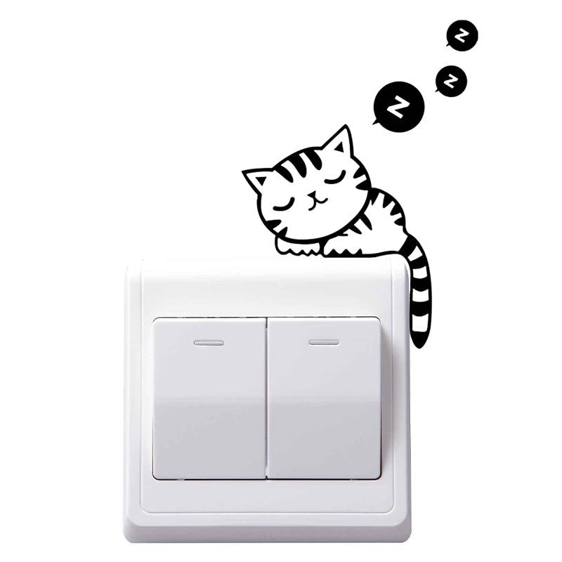 Лидер продаж милый кот Декоративные наклейки для настенных выключателей наклейки, украшения для стен стены наклейка для спальни дома гости...