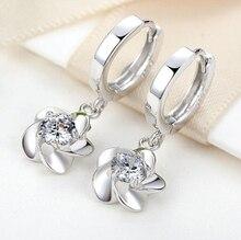 Fashion 925 Silver Zirconia Flower Pendant Hoop Earrings For Women Girls Kids Child Small Loop Huggie Earring Jewelry EH102