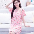Sales! Plus Size 4XL Floral Women's Nightgowns&Sleepshirts Cotton Sleepwear femme Casual Home Cute Dress Pink Nightgowns