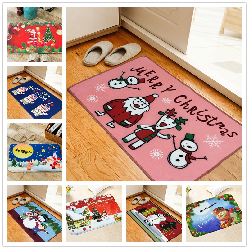 Merry Christmas Printed Holiday Mat Welcome Floor Carpet
