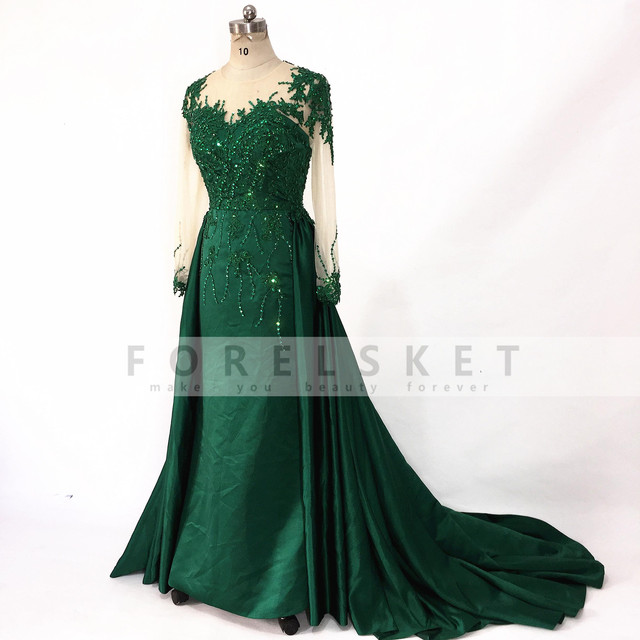 Long Sleeves Satin Mermaid Prom Dresses Green 2020 Engagement Celebration Saudi Arabia Beaded Lace Formal Evening party Gowns 3