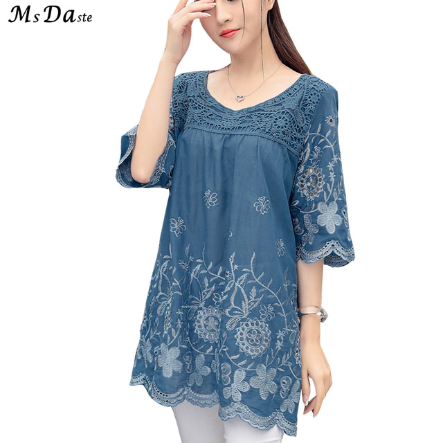 ac086cd7ea8c3 Tunic Tops for Women 2018 Summer Blouses Cotton Vintage Embroidery Loose  Ladies Shirts Plus Size XL~3XL Woman Top and Blouse