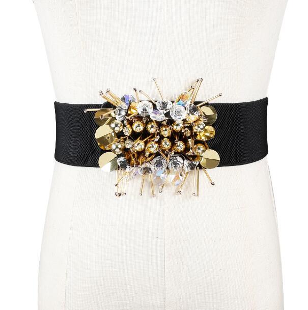 Women's Runway Fashion Vintage Elastic Beaded Cummerbunds Female Dress Corsets Waistband Belts Decoration Wide Belt R1152