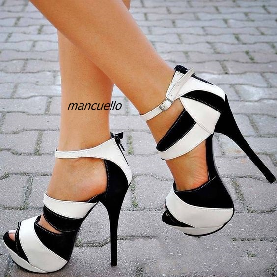 Stylish Color Patchwork Design Platform Sandals Women Sexy Cut-out Peep Toe Stiletto Heel Dress Sandals Trendy Back Zip Shoes zip back fit and flared plaid dress