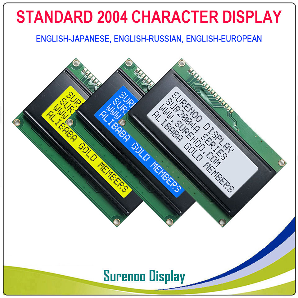 English / Japanese / Russian / European 204 20X4 2004 Character LCD Module Display Screen LCM With LED Backlight