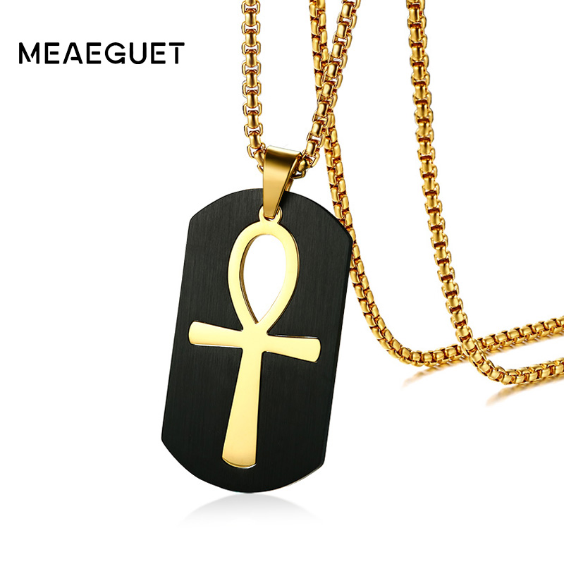 bc65af4104f5 Meaeguet Ankh egipcio collar de oro de la joyería de-color colgante de acero  inoxidable para los hombres clave a la vida Egipto Cruz con 24