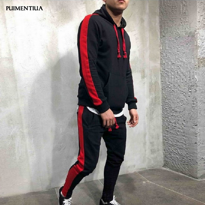 Puimentiua 2019 Men's Hoodie Sweater Coat Pants Set Stretchy Trousers Hooded Spring Autumn Coat Sweatshirt Tracksuit Suit Male