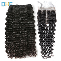 BHF Indian Deep Wave With Closure Curly Weave Human Hair With Closure 3 Bundles With Lace Closure Natural Color Virgin Hair