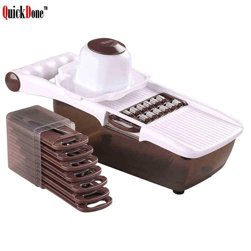 QuickDone Multifunktionale Mandoline Slicer Gemüse Cutter Mit Edelstahl Klinge Kartoffel Karotte Reibe Küche Werkzeug AKC6235