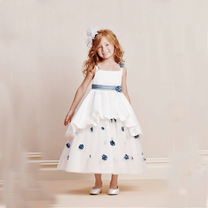 Hand Make First Communion Dresses for Girls A-Line Girls Pageant Dresses  Ankle-Length Mother Daughter Dresses for Weddings цена и фото