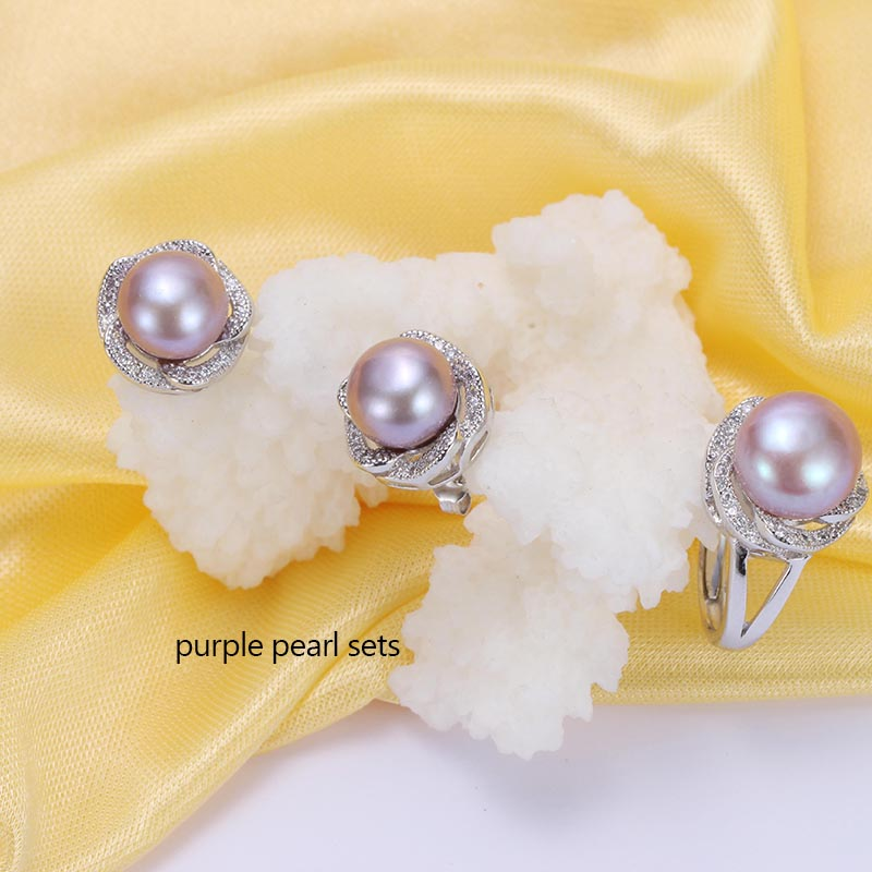 31821f5f2 HENGSHENG Women Natural Pearl Jewelry Sets, White Pink Purple 10 11mm Pearl  Ring & Earrings, Top Quality Pearl Jewelry-in Jewelry Sets from Jewelry ...