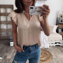 Summer Sexy Beige T Shirt Women Korean Clothes Short Sleeve Lace V Neck Bandage Shirts Elegant Lady Tshirt Casual Top Streetwear(China)