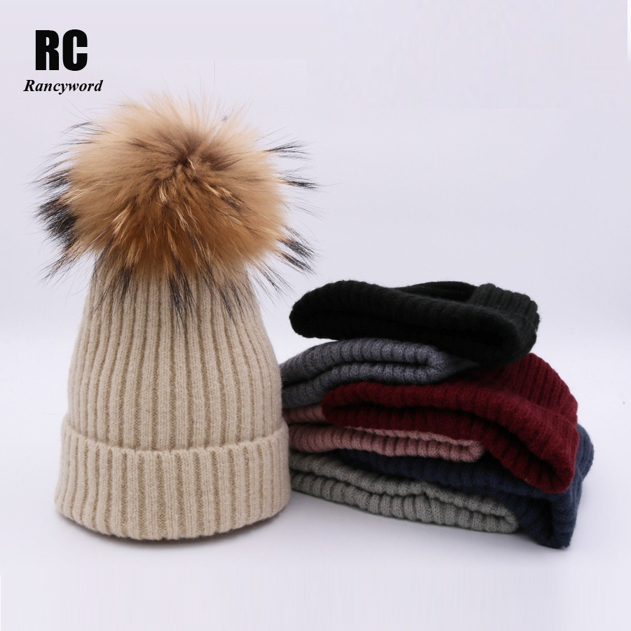 [Rancyword] Thicker Warm Winter Pompon Beanie Natural Fur Hats For Women Pom Pom Caps Knitted Hat Bonnet Many Color  RC1241 adult lady natural real beanie hat fox fur pompon warm winter hats adult beanies crochet wool fur ball winter knitted hat