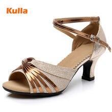 여성을위한 라틴 댄스 신발 반짝이 새틴 살사 탱고 신발 부드러운 고무 단독 숙녀 볼룸 댄스 신발 발 뒤꿈치 5.5cm 크기 34 42