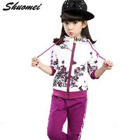 Autumn Girl Clothes Jacket Floral Kids Hoodies+Pants Kid Tracksuit For Girl children's Costume Sport Suit Christmas Gift Clothes