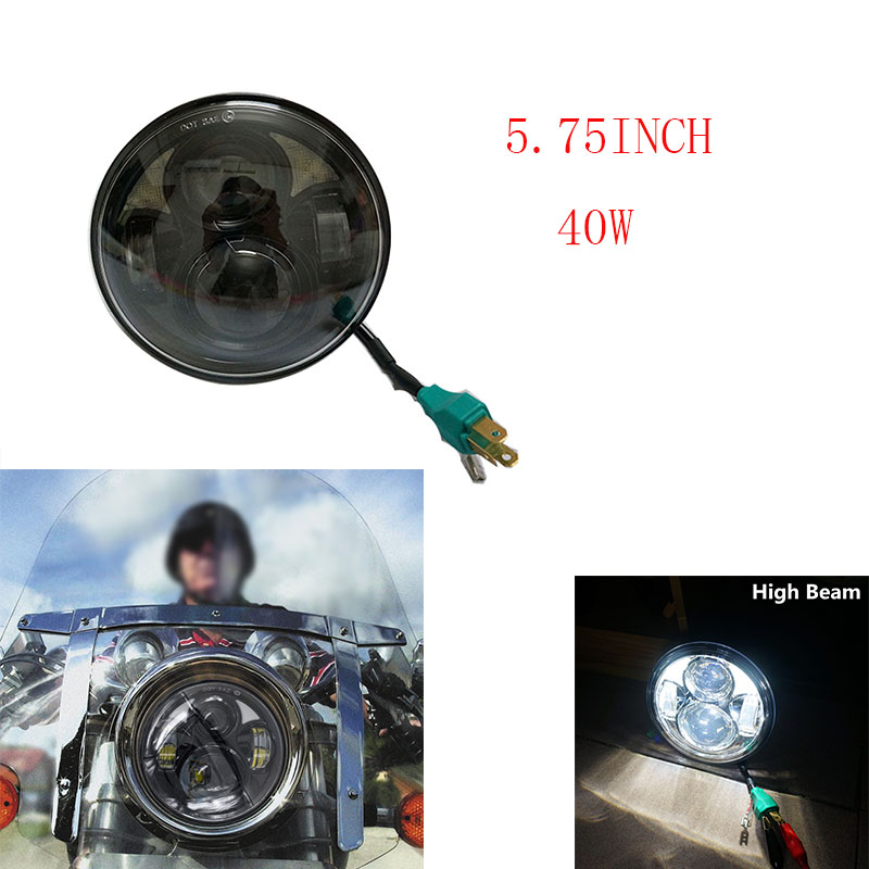 Motos Accessories 5.75 harley led headlight Motorcycle 5 3/4 inch Hi/Lo DRL H4 LED Headlight for harley Davidson Headlamp
