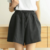 Короткие брюки женские летние шорты новые хлопковые льняные широкие брюки женские повседневные Большие размеры свободные на шнуровке с эл...
