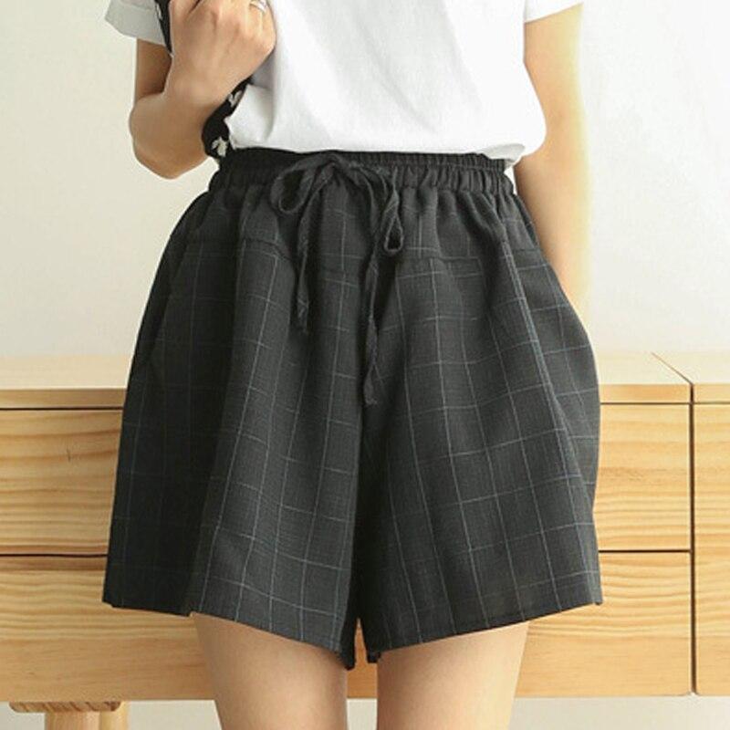 Short   Pants Female Summer   Shorts   New Cotton Linen Wide Leg Trousers Women Casual Plus Size Loose Lace Up Elastic Waist   Shorts