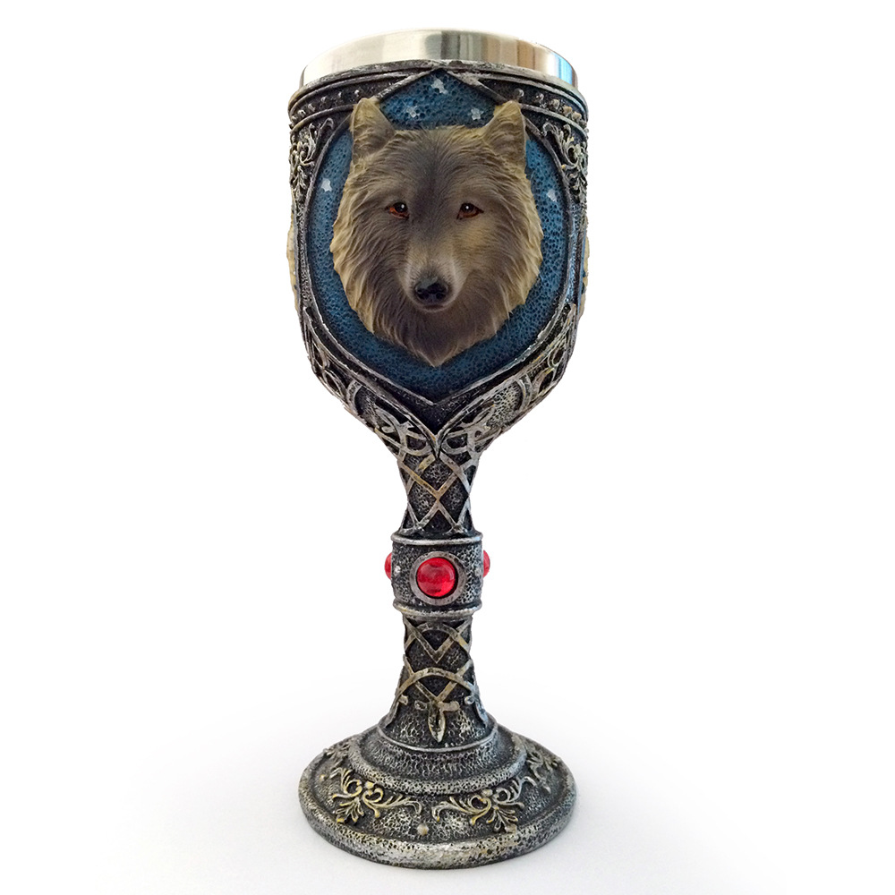 Drinkware Funny 3D Wolf Coffee Cup Mug Cool Resin Stainless Steel Goblet Creative Drinkware Copo Friend Gift