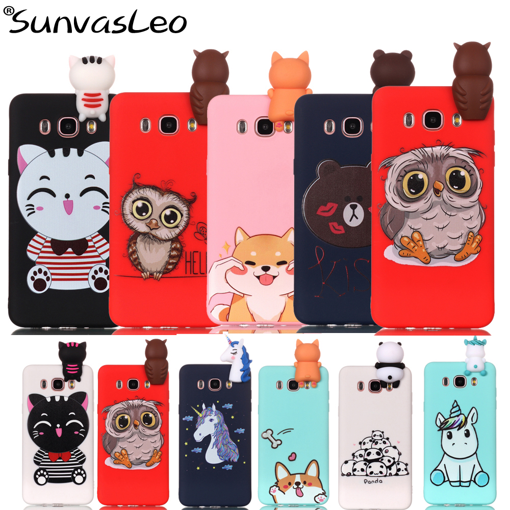 For Samsung Galaxy J5 J7 2016 3D Case Soft Silicon Back Cover Cartoon Phone Shockproof Shell Skin J510 J710 Cases Fundas Coque in Fitted Cases from Cellphones Telecommunications
