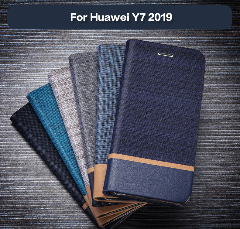 Pu Leather Wallet <font><b>Case</b></font> For <font><b>Huawei</b></font> <font><b>Y7</b></font> <font><b>2019</b></font> Business Phone <font><b>Case</b></font> For <font><b>Huawei</b></font> <font><b>Y7</b></font> <font><b>2019</b></font> Flip Book <font><b>Case</b></font> Soft Tpu Silicone Back Cover image