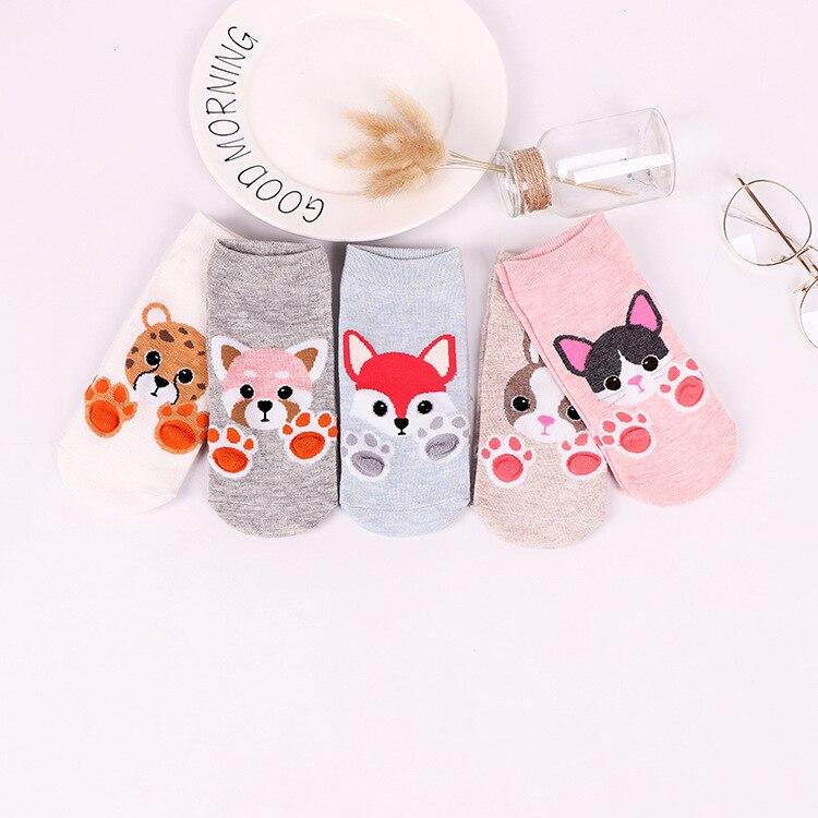 5 pairs Women cotton   socks   Cartoon funny   Socks   Dog Cat cute Animals Style Warm   Socks   Lady Floor   Socks   for Female