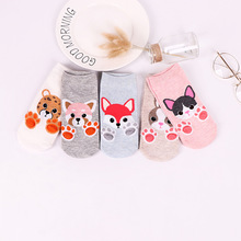 5 pairs Women cotton socks Cartoon funny Socks Dog Cat cute Animals Style Warm Lady Floor for Female