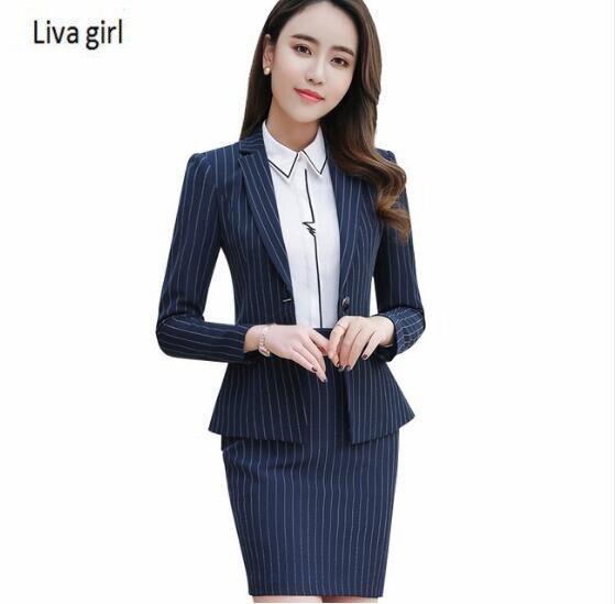 2018 Negócios Primavera moda tarja terno de saia formal de manga longa fino  blazer e saia do escritório ladies plus size desgaste do trabalho em Ternos  de ... 61e691c0b84
