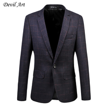 Men's Red Plaid Dress Blazers Simple Style Fashion Business Suit Jackets Slim Wedding Veste Homme Free Shipping Size:M – 6XL 521