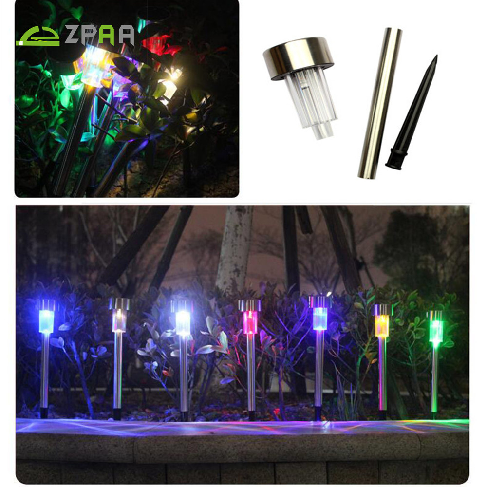 Outdoor Stainless Steel Solar Power 7 Color Changing LED Garden Landscape Path Pathway Lights- 10 Pieces